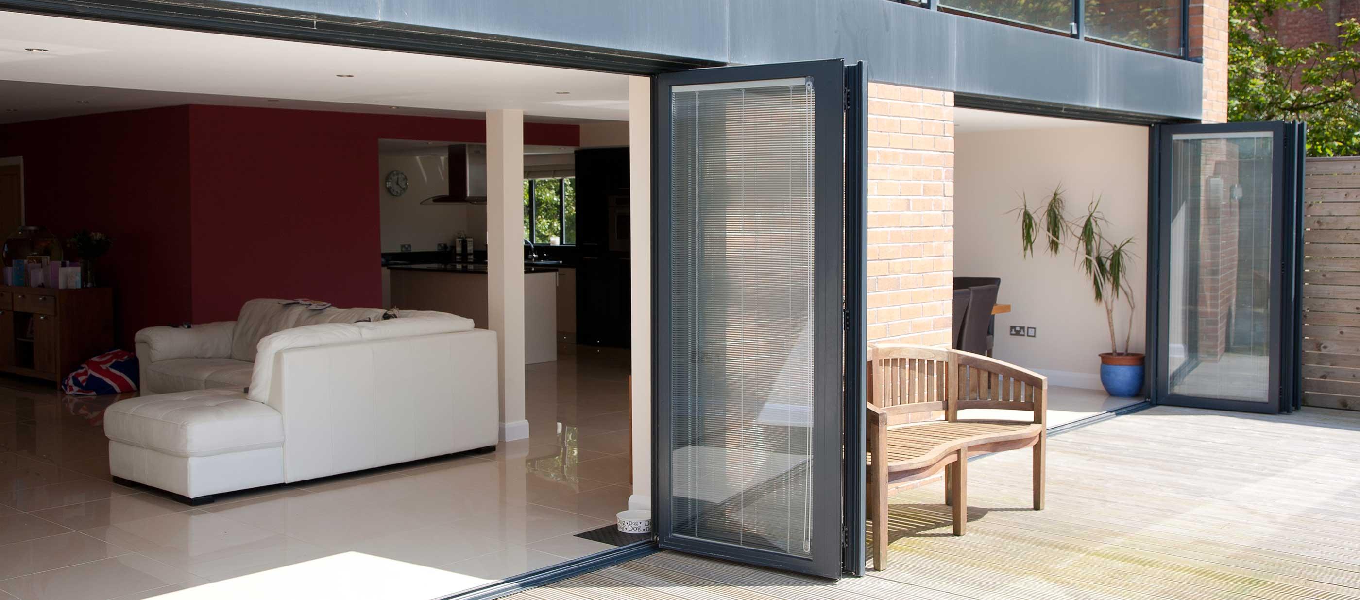 Opened Aluminium Bi Fold Doors