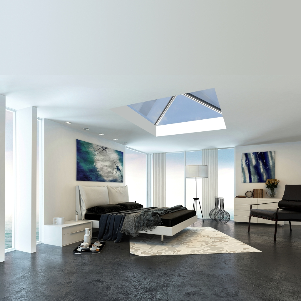 Modern bedroom with large Roof Lantern with blue sky outside