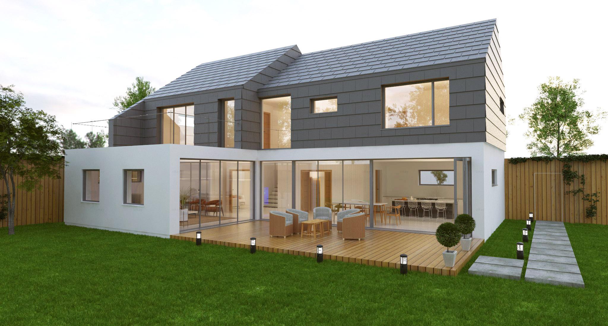 Aluminium Bi-Fold Doors on modern property with decking.