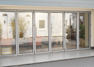 Closed White Aluminium Bi-Fold Doors