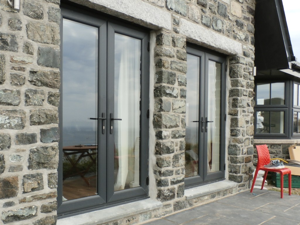 Upvc door cornwall Anthracite grey upvc door