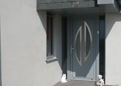 Slate grey aluminium entrance door with hallmark panel