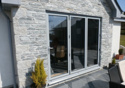 Slate grey external bi fold door Truro