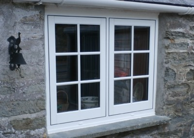 French style flushsash in white woodgrain with astragal bars